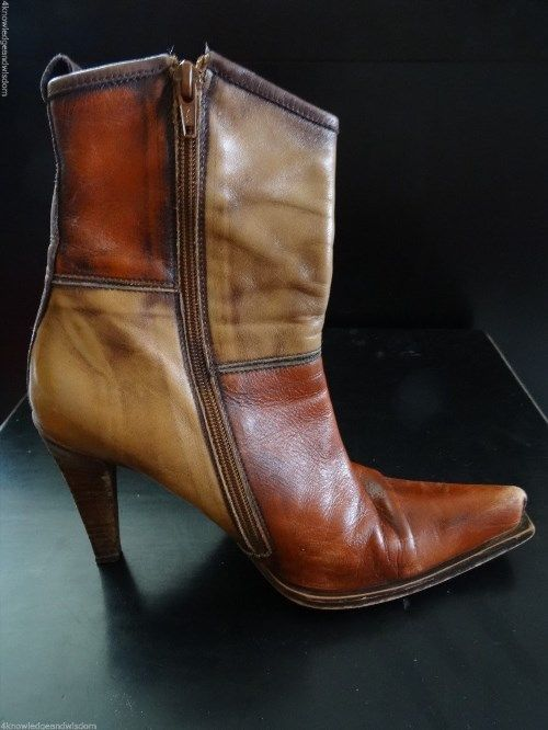 27.57$  Buy now - http://vitko.justgood.pw/vig/item.php?t=altho549615 - Vtg Steve Madden Women's Brown Leather Boots High Heel US 10 Distressed Two-Tone 27.57$