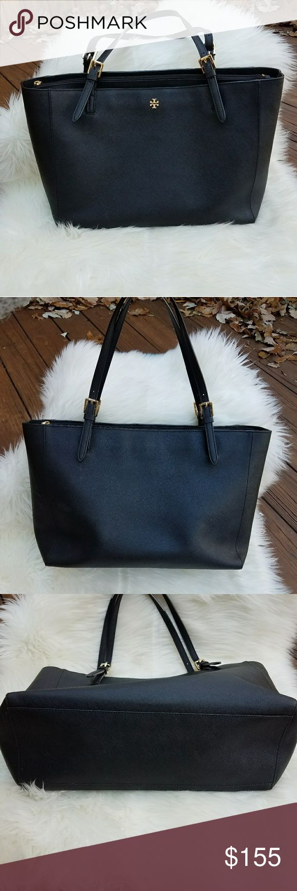 TORY BURCH Black Saffiano Leather York Buckle Tote TORY BURCH Black Saffiano Leather Buckle York Tote Bag with Gold Hardware.  Gorgeous go to bag that holds everything with style! Has some fraying on straps.    Large Size Tory Burch Bags Totes