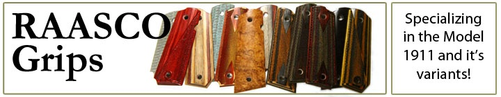 RAASCO Grips - Custom 1911 Grips in Hardwood, Phenolic and Dymondwood for Colt Kimber Taurus Springfield Armory Smith and Wesson Wilson