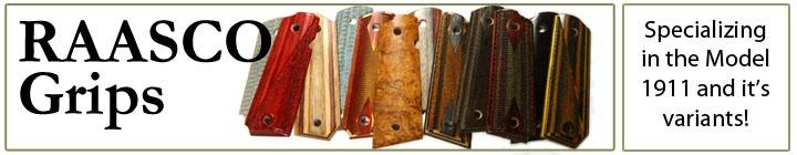 RAASCO Grips - Custom 1911 Grips in Hardwood, Phenolic and Dymondwood for Colt Kimber Taurus Springfield Armory Smith and Wesson Wilson