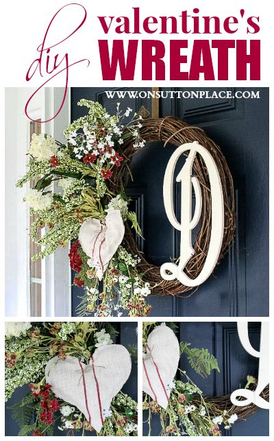 See how to make a recycled, DIY monogrammed Valentine's wreath. Includes the source for the wood initial!