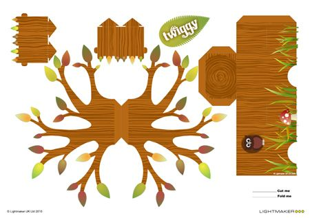 tree papertoy and more cute printable (box-) toys