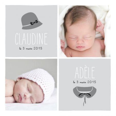 Faire part naissance Jumelles Coquettes by Marion Bizet pour www.fairepartnaissance.fr : demandez vos échantillons gratuits de nos créations pour la naissance, le baptême ou les anniversaires de vos enfants. #twins #rosemood