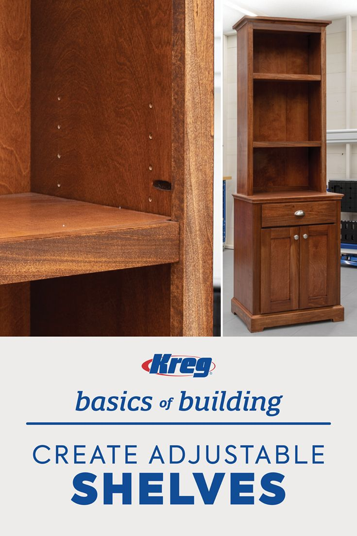 DIY Woodworking Ideas Adding adjustable shelves can give a custom feel to your furniture.