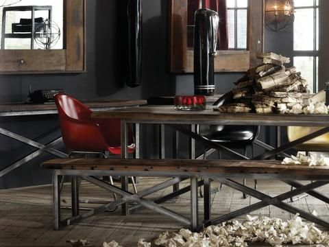 The Axel range crosses old world and industrial with its combination of reclaimed wood from decommissioned Chinese junks and hand-treated metal detailing. After decades of exposure to the high seas and elements, the reclaimed Sassafras hardwood from the hulls, decking, and beams of the Chinese boats reflects uniquely weathered colourations and textures. #timothyoulton #industrialluxe #industrialluxeinterior #dawsonandco