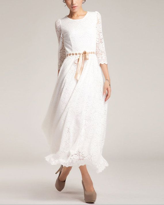 3 Quarter Sleeve White Lace Maxi Dress White Maxi by DressStory, $129.99 - 16 Best White Dress Images On Pinterest White Dress, Maxis And