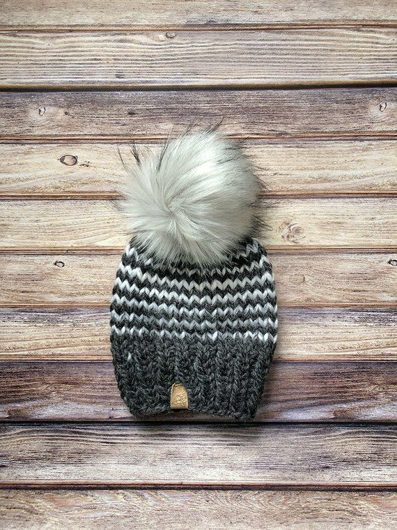 3cd0fa6230953 Striped Adult Beanie    CUSTOM ORDER    Knit Hat    Faux Fur Pom Pom     Multiple Colors    Womens Hat    Wool