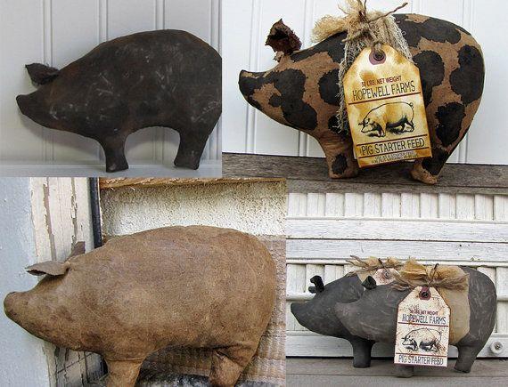 Set of 4 Cave Creek Primitives Pig Bowl by cavecreekprimitives, $34.95