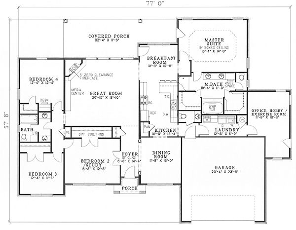 Ranch house plan id chp 15097 for Monster house plans ranch