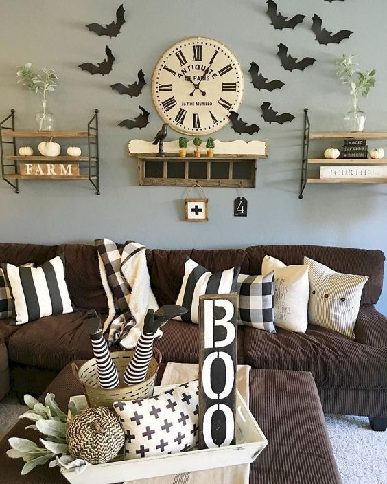 90 Diy Indoor Halloween Decor Ideas To Welcome Spooky Vibes In Your Home Hike N Dip Halloween Living Room Halloween Living Room Decor Halloween Home Decor