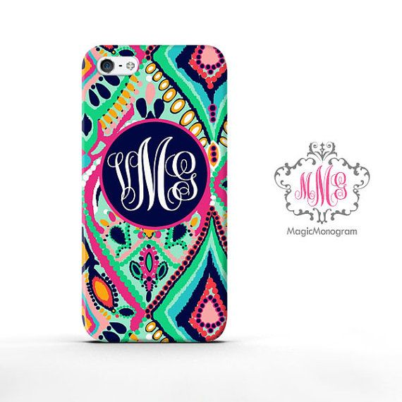 Monogram iPhone 5 Case Abstract Pattern, custom Lilly Pulitzer Inspired monogrammed iPhone 5C Case, available for iPod Touch 4 iPod 5 case on Etsy, $15.88