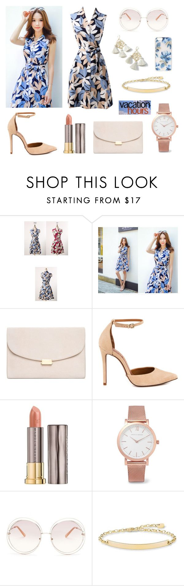 Styleonme_Floral Print Collared Sleeveless Dress by styleonme-kr on Polyvore featuring Schutz, Mansur Gavriel, Larsson & Jennings, Chloé, Sonix, Urban Decay and Marte Frisnes