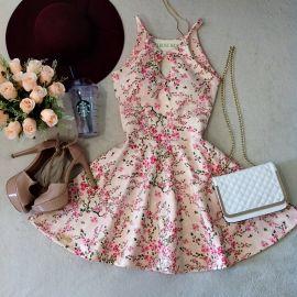 Vestido Boneca Ludmilla Decote Gota C/ BOJO ( Estampa mini flores/ Fundo Rosa)