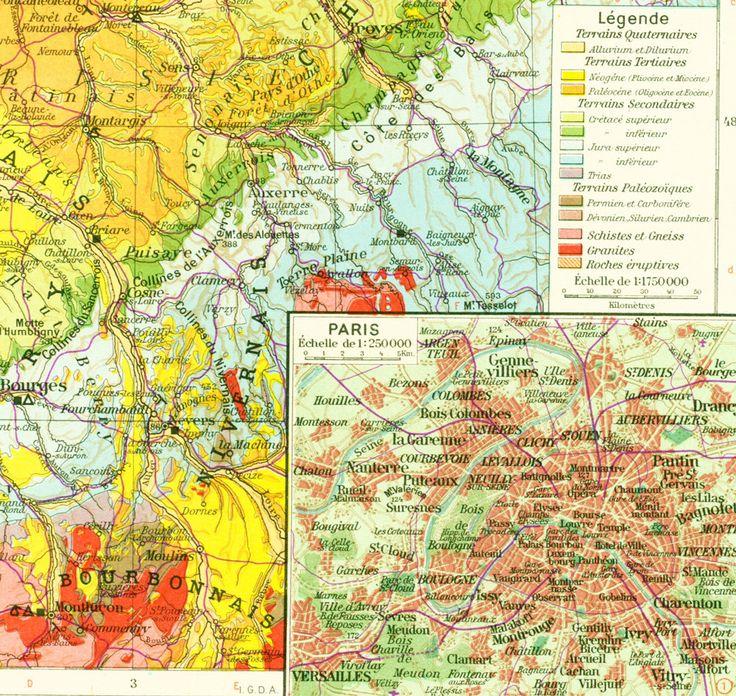 1950 Carte geologique du Bassin Parisien - Geologie région parisienne - Planche Originale - Atlas Geographie Grand Format de la boutique sofrenchvintage sur Etsy