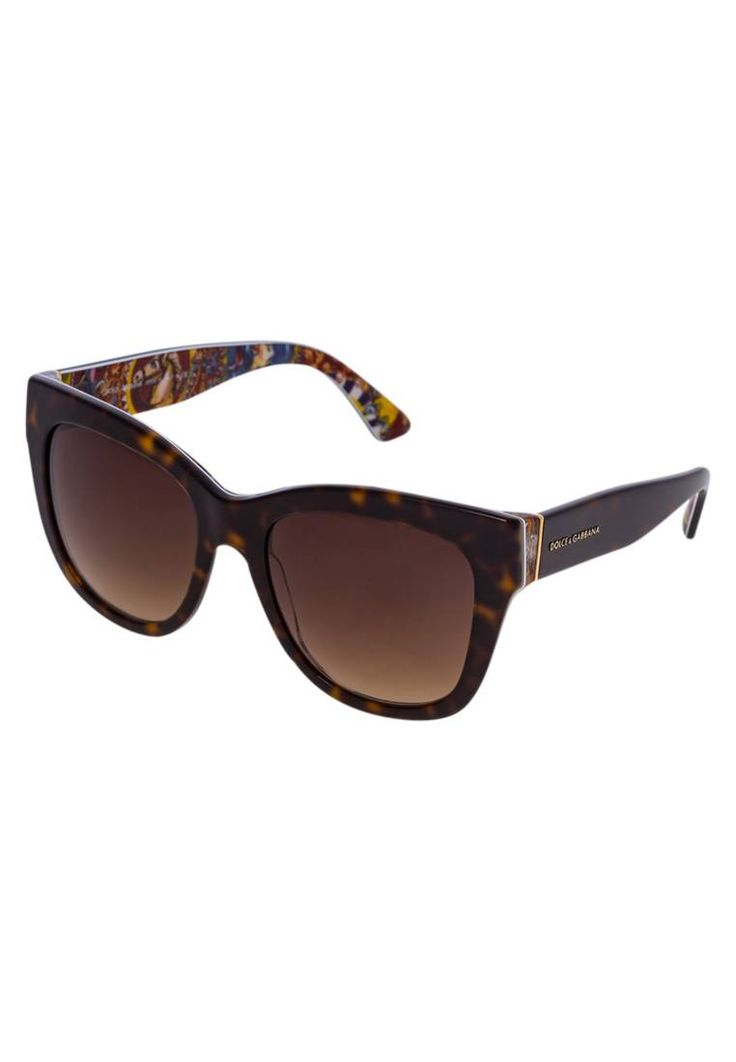 "Dolce&Gabbana. Sunglasses - havana. UV protection:yes. Pattern:Print. lenses:coated glasses. Frame style:butterfly. Bridge width:0.5 "" (Size 55). Total width:6.0 "" (Size 55). Glasses case:hard case. Arm length:5.5 "" (Size 55)"