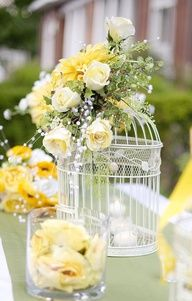 table setting cage / wedding decor bird cages with flowers