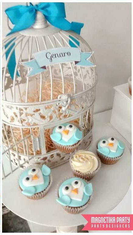 Owl baptism party cupcakes!  See more party planning ideas at CatchMyParty.com!