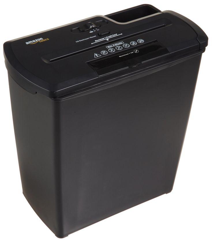AmazonBasics Destructeur de documents 7 à 8 feuilles coupe droite avec destructeur de CD Noir: Amazon.fr: Fournitures de bureau