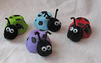 Ladybug craft using egg carton and pom pom insect eggcarton ladybird