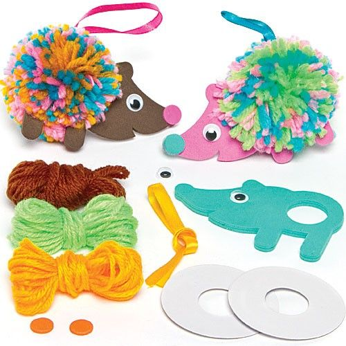 Pom poms have been revamped with these fun Hedgehog Pom Pom Decoration Kits #YarnCraft #KidsCrafts