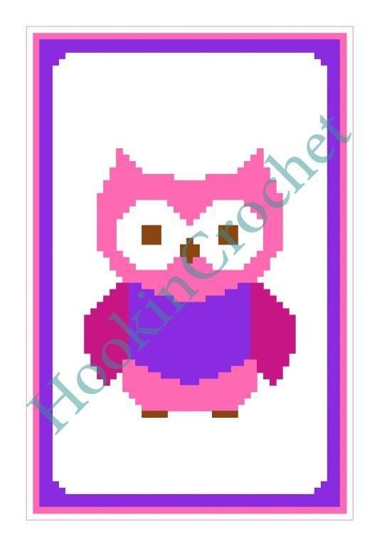 Owl Cot/Crib Blanket C2C Graph Pattern