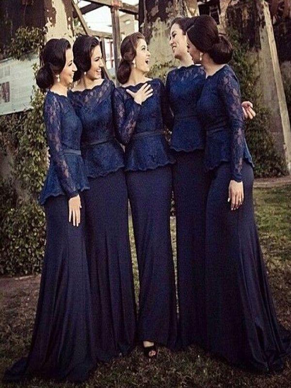 Long Bridesmaid Dress,Long Sleeve Navy Blue Bridesmaid dress,