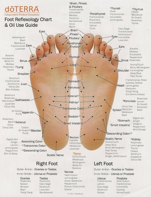 Hand and Foot Reflexology Charts with corresponding doTERRA essential oils. .