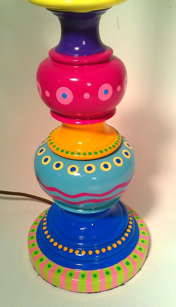 Painted Table Lamp | TIPS AND IDEAS FOR PAINTING WHIMSICAL/FUNKY