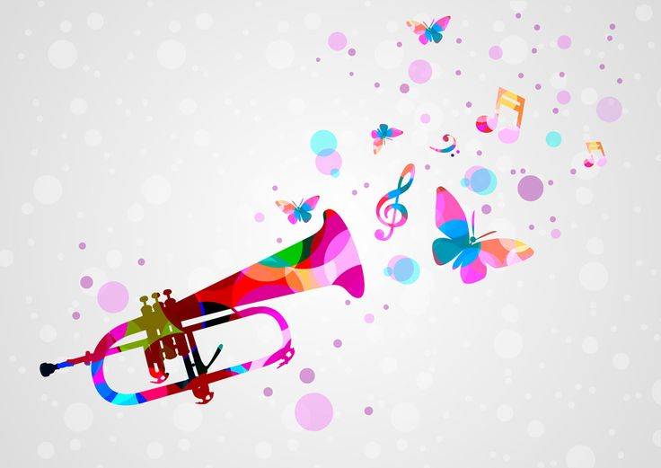 [フリーイラスト素材] イラスト, 背景, トランペット, 金管楽器, 楽器, 音楽, 音符, 蝶 / チョウ, AI ID:201405210100