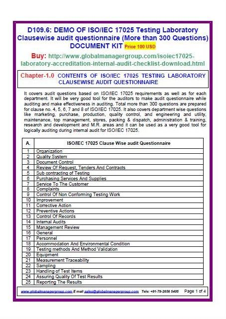 iso 17025 2005 requirement wise audit questionnaire  more than 300 questions in 11 departments
