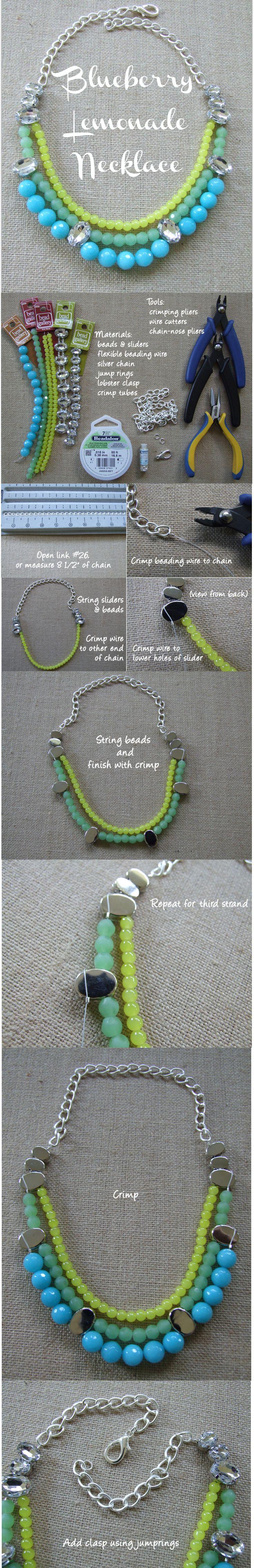 DIY Blueberry Lemonade Fashion Necklace (minus the bling)