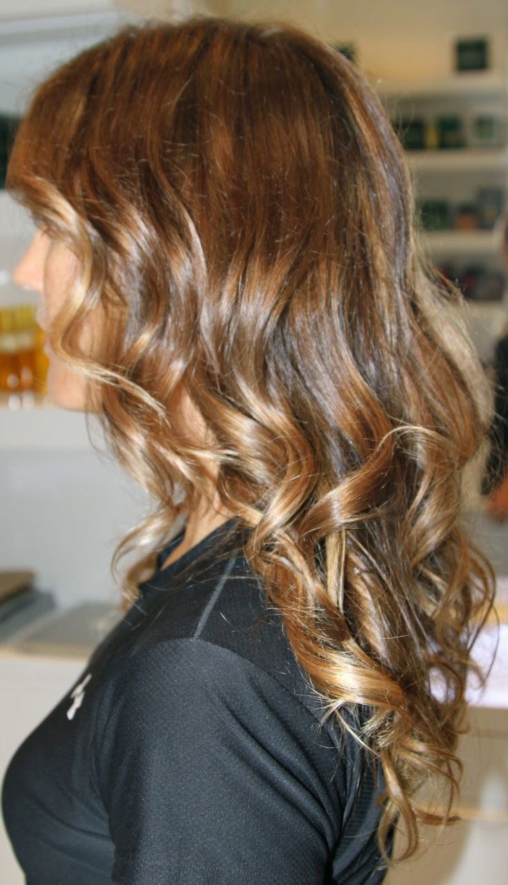 Brunette Auburn hair with subtle caramel golden ombre tips. So beautiful. Looks sun kissed and natural.