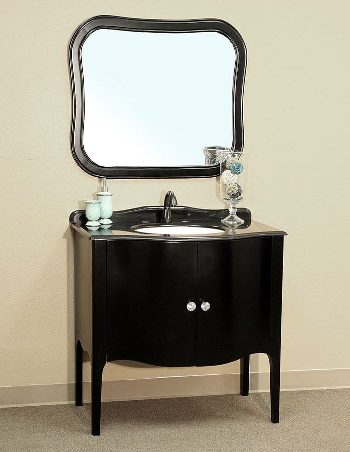 Bellaterra Home 203037 Black Bathroom Vanity, Black Granite Countertop