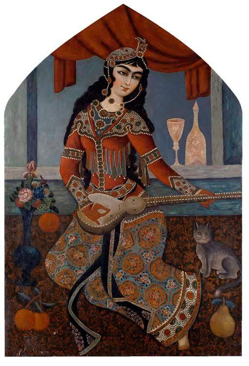 A QAJAR BEAUTY PLAYING A LUTE, IRAN, 19TH CENTURY