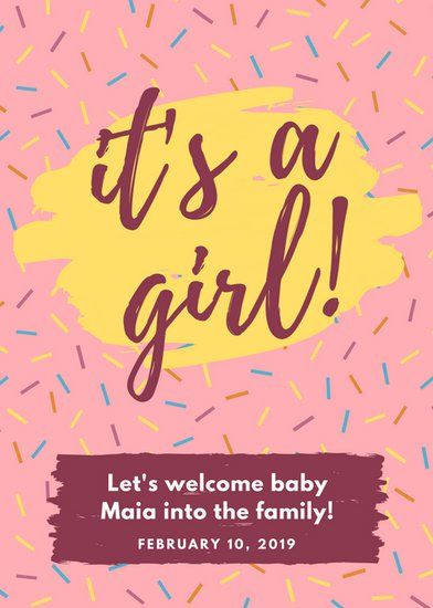 Pink and Yellow Confetti Brush Strokes Birth Announcement