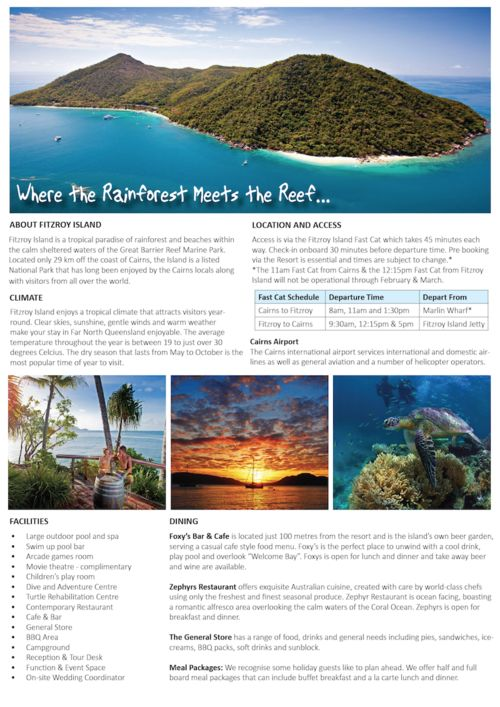 9 best hotel fact sheet images on pinterest brochures for Island brochure template