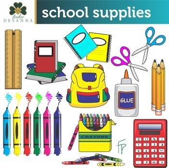 Free 20 piece School Supplies clip art set. Includes pencils, crayons, notebooks and more.   The set includes 10 PNG color illustrations, and 10 PNG blackline / grayscale  versions. These are high resolution (300 dpi) transparent background graphics. No watermarks will appear on the files that you download.