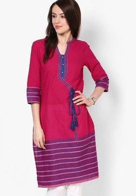 Magenta Solid Kurtas Pink coloured solid kurtas for women by Aurelia. Crafted from cotton this calf length, 3/4th sleeves kurtas has round neck. It comes in regular fit. http://jbo.ng/fqrqL5e