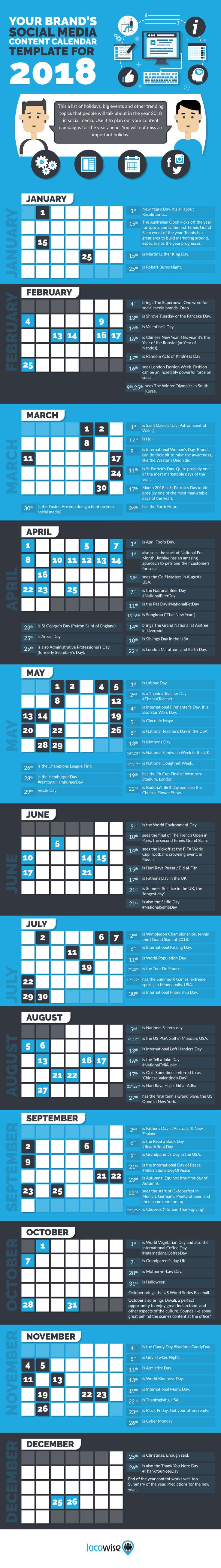 Your Brand's Social Media Content Calendar Template For 2018