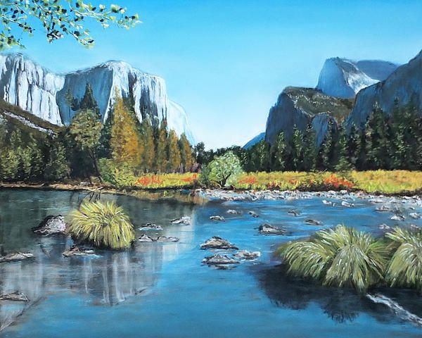 "Yosemite Landscape Pastel Painting. Size 13¼""x10¾"" Prints and Greeting Cards from Fine Art America"
