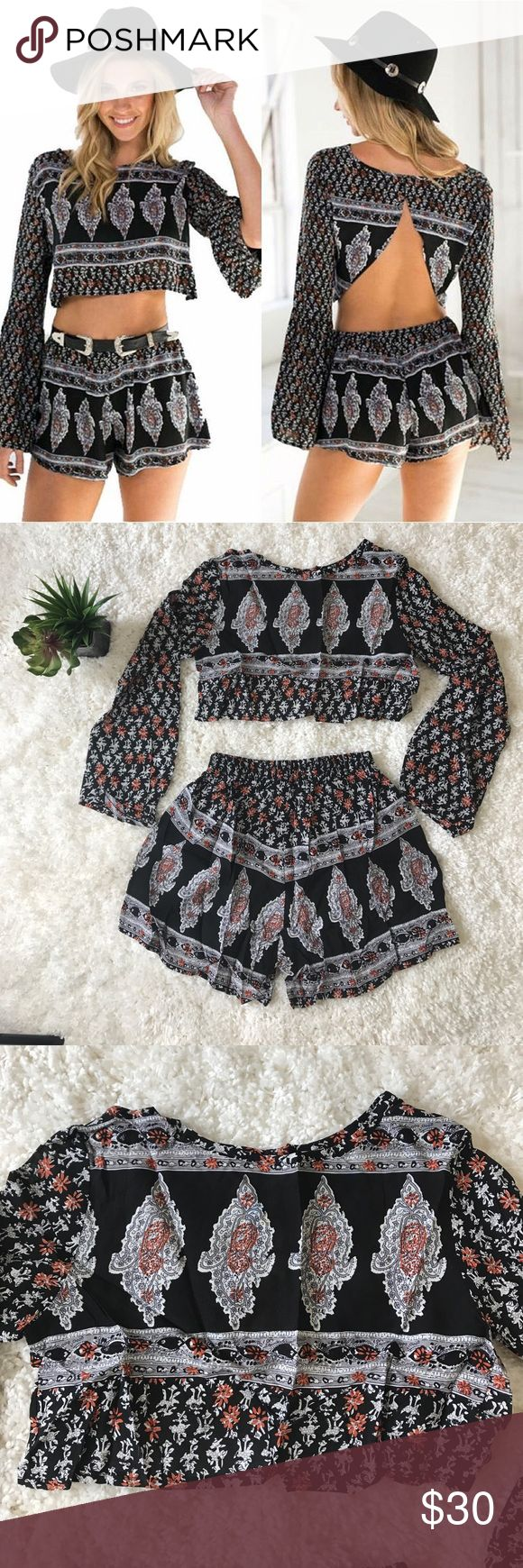 Boho chic long sleeve crop top and shorts set NWOT boho chic long sleeve crop top with open back and shorts set. Great for a summer outfit or festival. boutique Tops Crop Tops
