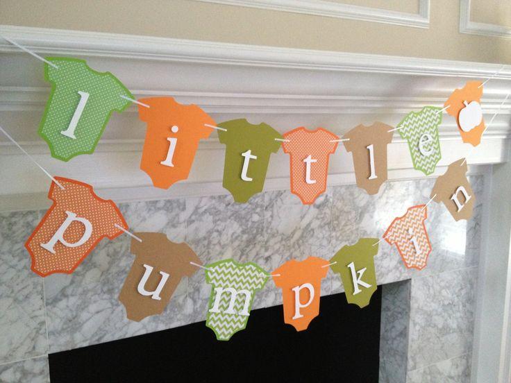Baby Shower Decor, Little Pumpkin Banner, Fall Baby Shower Decor, Autumn Baby Banner, Pumpkin Baby Onesie Banner, Gender Neutral Banner by PaperStrip on Etsy