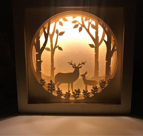 Nachtlicht Kinder Nachtlampe Baby Nachtlicht Personalisierte Geschenk Shadow Box Baby Shower Geschenke Deer Na Shadow Box Kunst Nachtlicht Dioramen