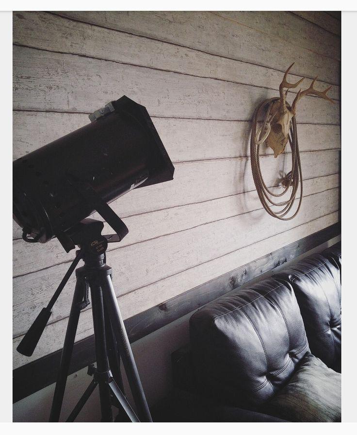 Lampe avec Pied de caméra et projecteur, mur bois de grange, crâne et rope, sofa cuir