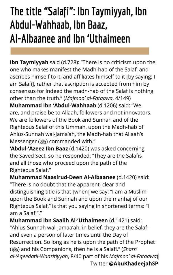 """The title """"Salafi"""" from Ibn Taymiyyah, Ibn Abdul-Wahhaab, Ibn Baaz, Al-Albaanee and Ibn 'Uthaimeen:"""