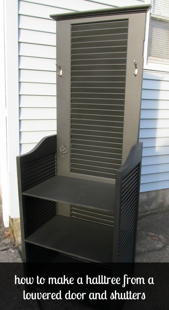 how to build a hall tree out of a louvered door and shutters by MyRepurposedlife.com