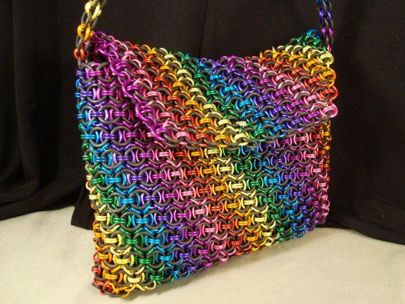 Rainbow Pride Chainmail Purse Handbag Clutch by CnTStretchys, $300.00