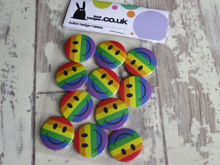 LGBT gay pride rainbow smiley button badges fresh off the workbench & heading ou… – Button badges
