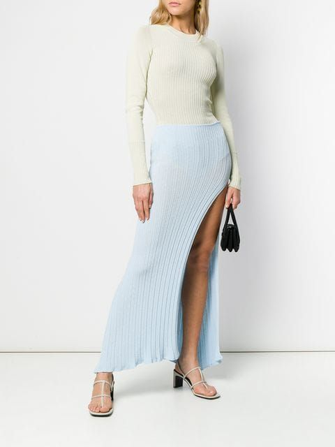 e32a106ba Jacquemus Side Slit Knit Skirt in 2019 | SPRING 2019 | Knit skirt,  Sweaters, Skirts