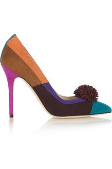 A pompom adds a playful touch to the Brian Atwood 'Bea' color-block suede pumps, on sale here: http://rstyle.me/~3mZwQ